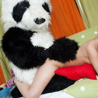 Panda bear fucks sexy teen in different positions